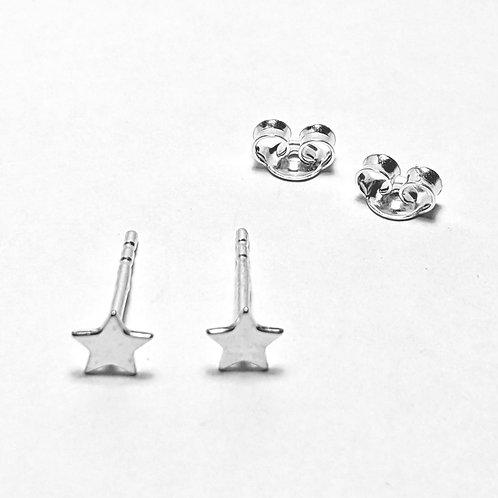 Mini Star Stud Earrings Silver