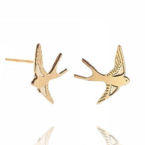 Amanda Coleman Swallow Stud Earrings Gold
