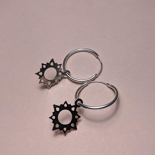 Silver Sunburst Charm Hoop Earrings