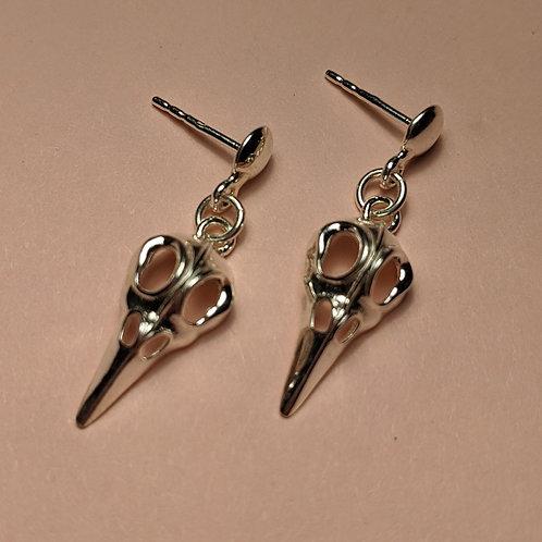 Silver Raven Drop Earrings