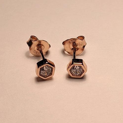Hexagon CZ stud earrings rose gold