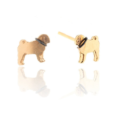 Amanda Coleman Pug Stud Earrings Gold