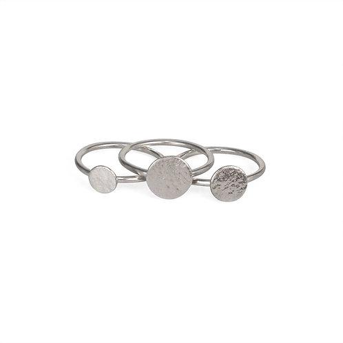 Cara Tonkin Paillette Stacking Ring Set Silver