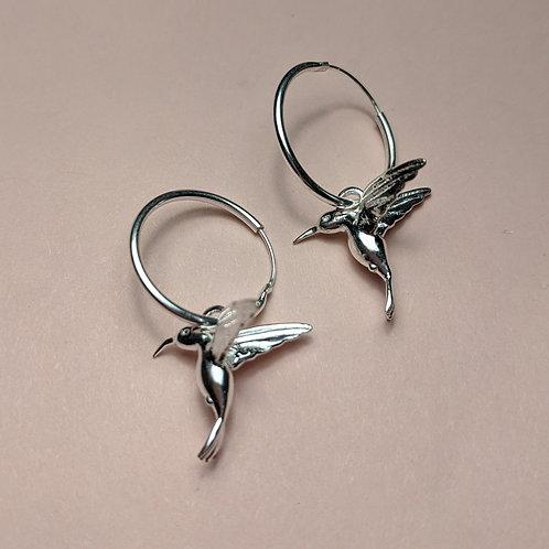 Sterling silver hummingbird hoop earrings