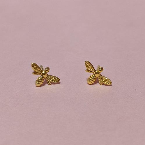 Mini Manchester bee stud earrings gold