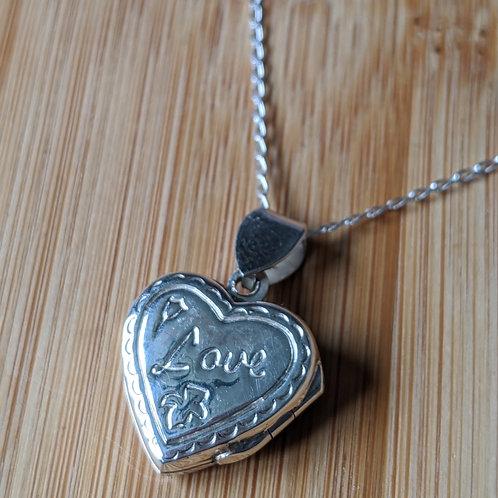 Silver heart locket love engraved