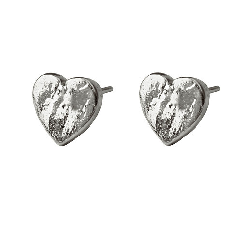 Chris Lewis Flat Heart Stud Earrings Organic