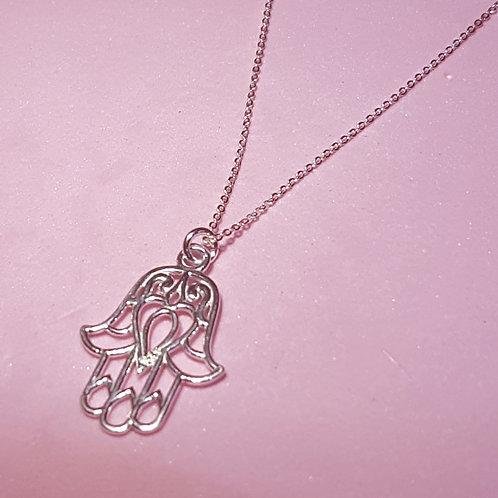 Hamsa silver hand pendant