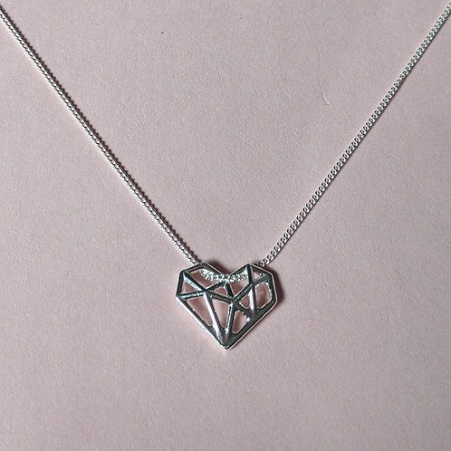 Geometric silver heart pendant
