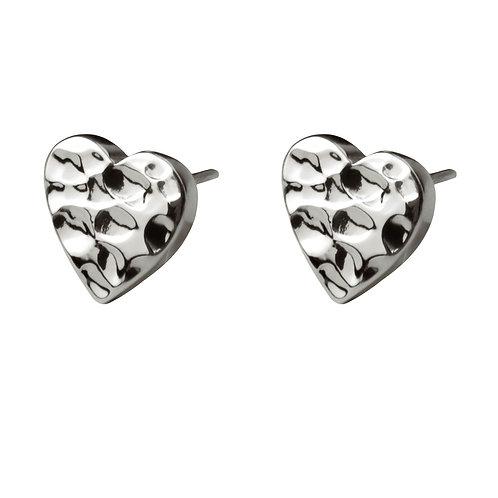 Chris Lewis Flat Heart Stud Earrings Hammered