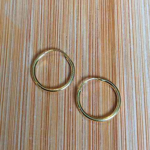 Mini gold sleeper hoop earrings