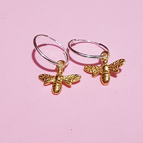 Silver bee sleeper hoop earrings