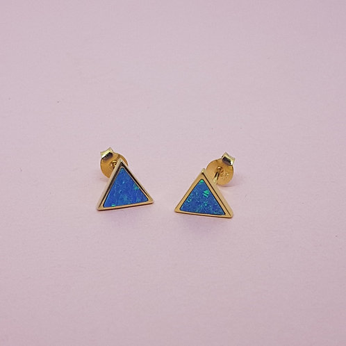 Triangle Blue Opal Stud Earrings Gold