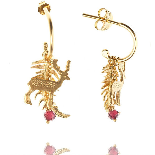 Amanda Coleman Stag and Fern Earrings on Half Hoops Gold