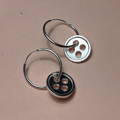 Silver button hoop earrings