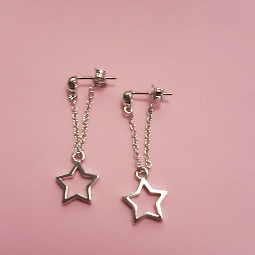 Silver open star drop earrings