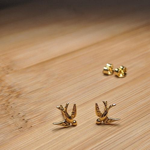 Swallow Stud Earrings Gold