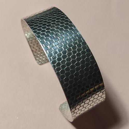Silver Textured Cuff Bracelet