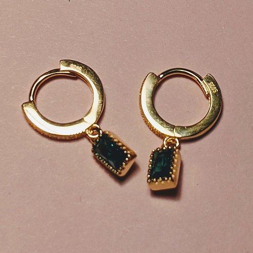 Gold Huggie Hoops CZ Emerald Earrings