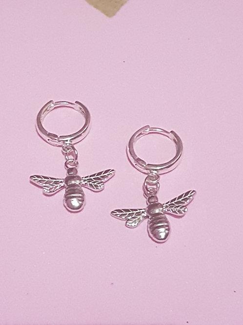 Silver Manchester Bee Hoop Earrings