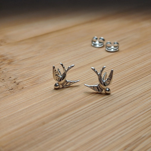 Swallow Stud Earrings Silver