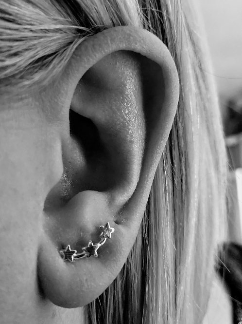 Star ear climbers sterling silver