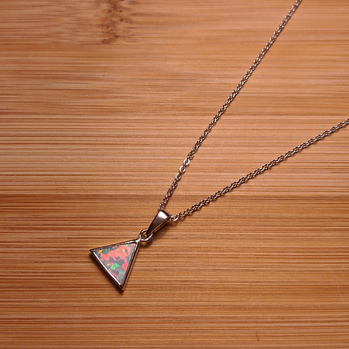 Sterling silver white opal triangle pendant