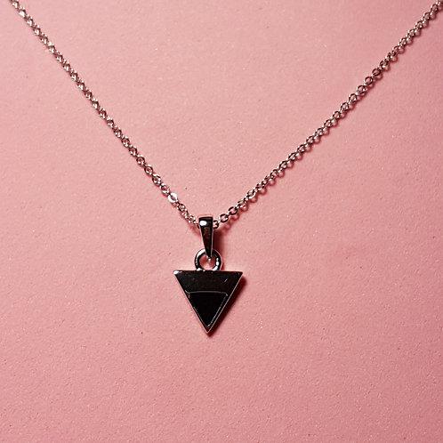 Triangle pendant silver black enamel