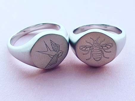 New silver signet rings.