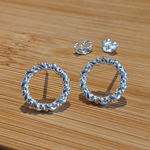Silver twisted open circle studs
