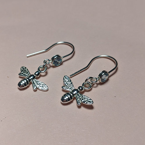 Sterling silver bee blue stone hook earrings