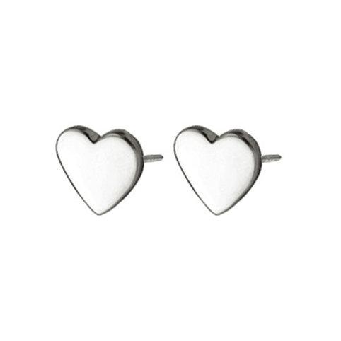 Chris Lewis Flat Heart Stud Earrings Polished
