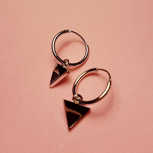 Silver triangle enamel charm hoops black
