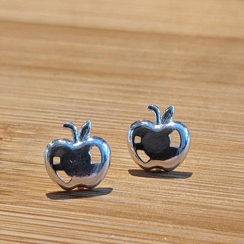 Silver apple stud earrings