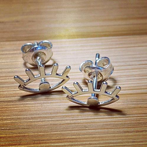 Evil eye silver stud earrings