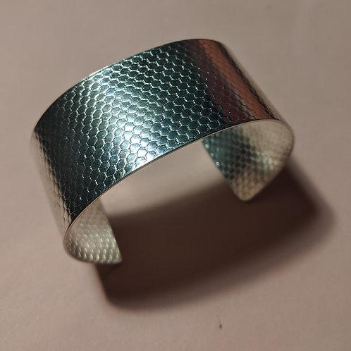 Wide silver textured cuff bracelet