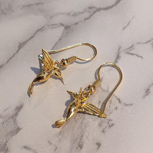 Hummingbird hook earrings gold