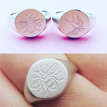 sterling silver signet rings, Manchester bee and retro swallow tattoo design.