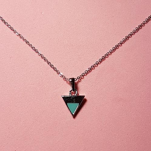 Triangle pendant silver green enamel