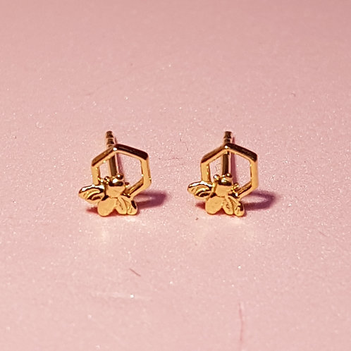 Mini honeycomb bee stud earrings gold plated silver
