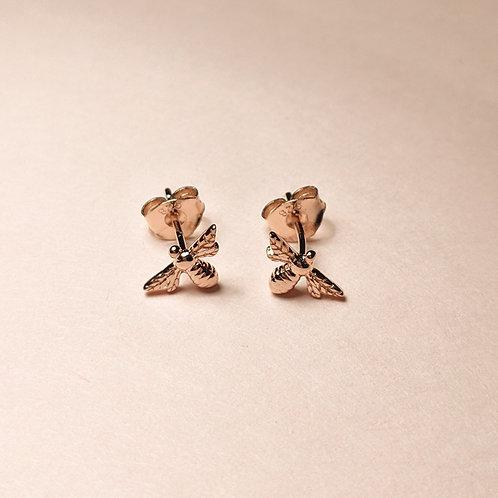 Mini bee studs rose gold