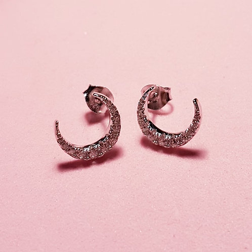 Silver crescent moon cz stud earrings