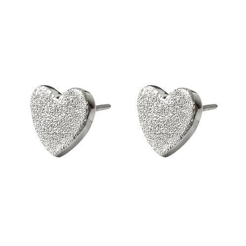 Chris Lewis Flat Heart Stud Earrings Sand Blast
