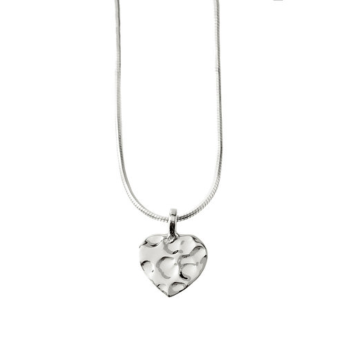 Chris Lewis Flat Heart Pendant Hammered