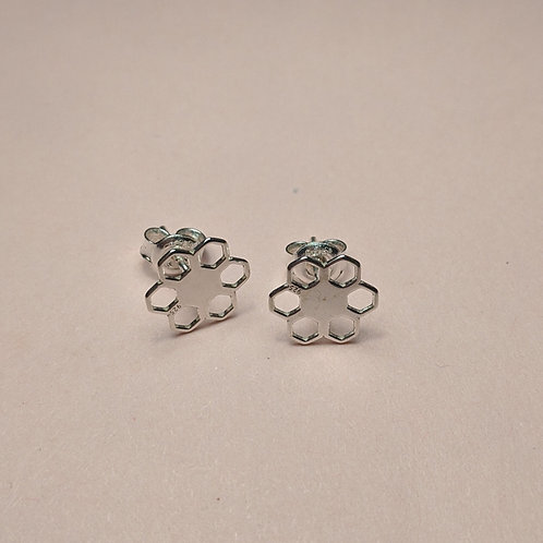Honeycomb flower studs silver