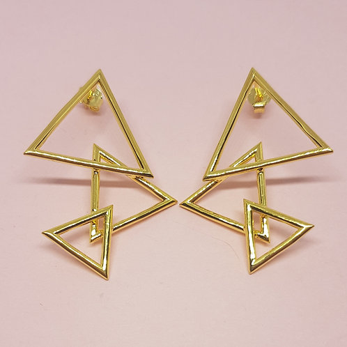 Three Peaks Triangle Earrings Gold