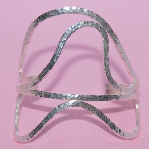 Silver Hammered Finish Wave Cuff Bracelet