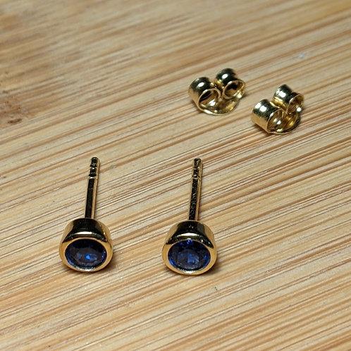 Sapphire CZ Stud Earrings Gold