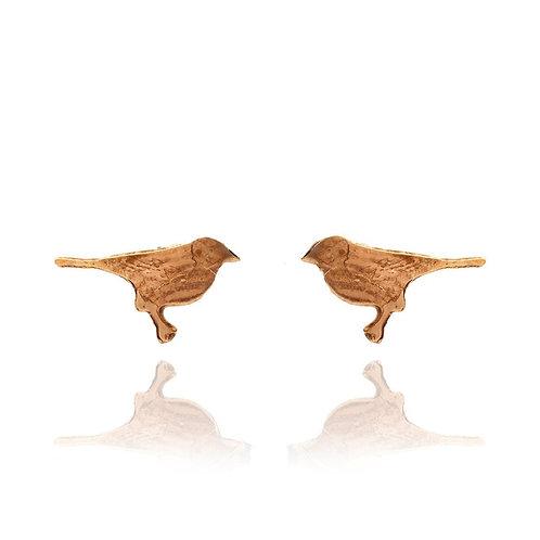 Amanda Coleman Tiny Bird Stud Earrings Gold