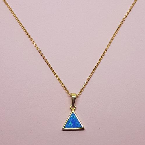 Triangle Blue Opal Pendant Gold